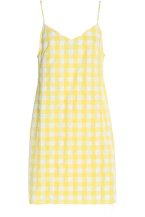 MARQUES ' ALMEIDA Gingham seersucker mini dress