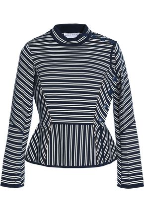 SONIA RYKIEL Striped cotton-blend ponte peplum top