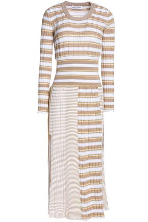 SONIA RYKIEL Striped ribbed cotton-blend midi dress