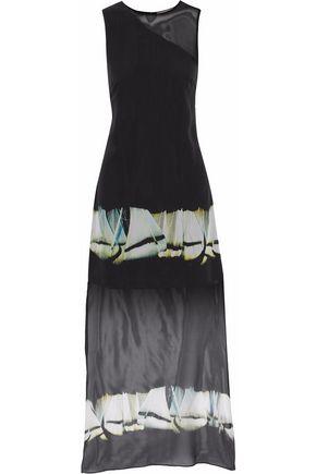 HALSTON HERITAGE Asymmetric printed silk-chiffon dress