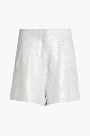 ACNE STUDIOS Sequined silk-gauze shorts