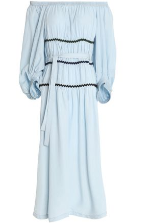 SONIA RYKIEL Off-the-shoulder belted chambray dress