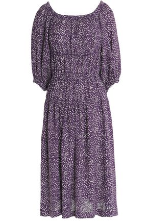 SONIA RYKIEL Off-the-shoulder printed linen midi dress