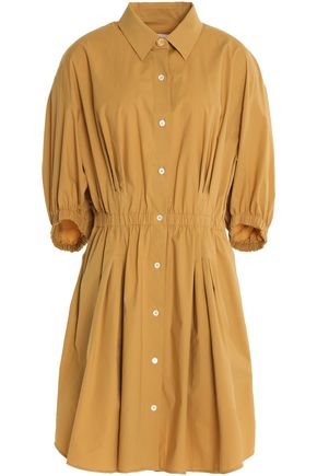SONIA RYKIEL Gathered cotton-blend poplin dress