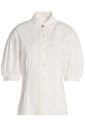 SONIA RYKIEL Gathered cotton-blend poplin shirt