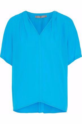 HALSTON HERITAGE Gathered silk crepe de chine T-shirt