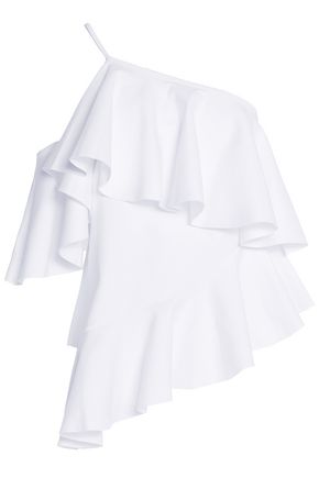 MARQUES ' ALMEIDA One-shoulder ruffled cotton-jersey top