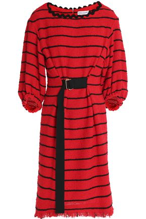 SONIA RYKIEL Belted striped cotton-blend tweed dress