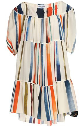 SONIA RYKIEL Gathered printed silk crepe de chine mini dress