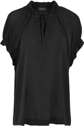 BY MALENE BIRGER Ruffled stretch-silk top