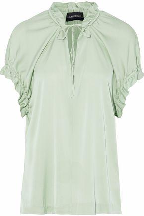 BY MALENE BIRGER Gatherd silk-blend crepe de chine blouse