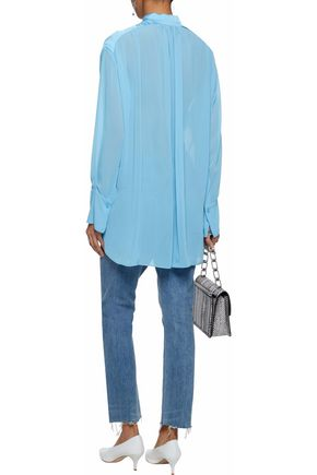 BY MALENE BIRGER Asymmetric satin-trimmed chiffon top