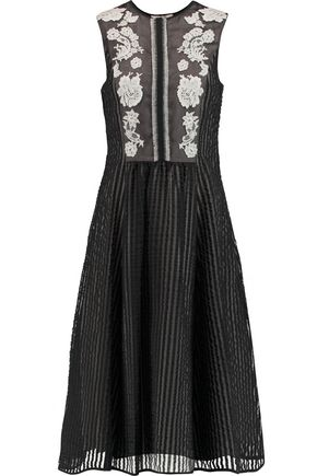 ERDEM Sylvie lace-appliquéd striped  cotton-blend organza midi dress