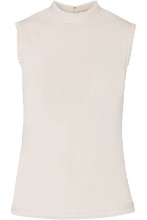 ELIE SAAB Pointelle-trimmed jersey top