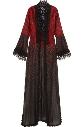 ELIE SAAB Crocheted lace-trimmed embroidered cotton-blend jacket