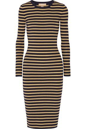 MICHAEL KORS COLLECTION Metallic striped stretch-knit dress