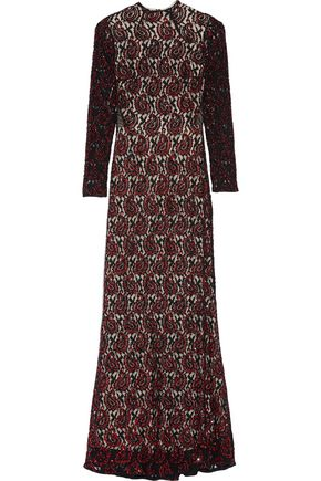 ALICE+OLIVIA Cori sequin-embellished lace maxi dress