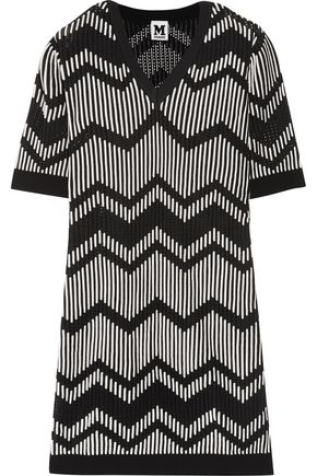 M MISSONI Rib-paneled crochet-knit mini dress