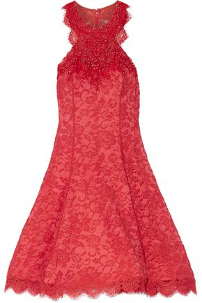 MARCHESA NOTTE Embellished lace mini dress