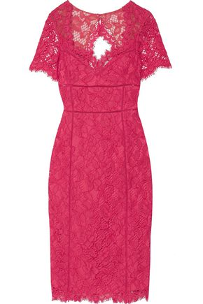 MARCHESA NOTTE Cutout-back cotton-blend lace dress