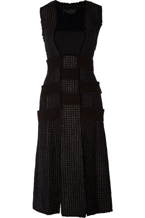 PROENZA SCHOULER Paneled bouclé-tweed and crepe dress