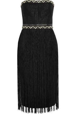 TAMARA MELLON Fringed woven and crepe dress