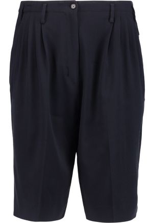 AGNONA Pleated stretch wool-blend crepe shorts
