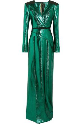 ROLAND MOURET Wrap-effect lamé gown