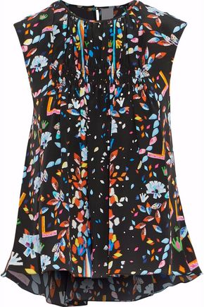 PETER PILOTTO Smocked printed silk crepe de chine top