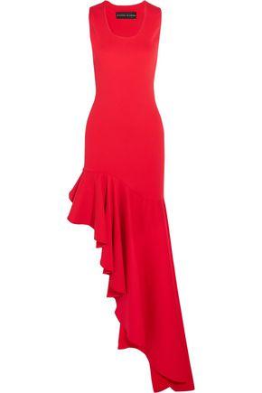 MICHAEL LO SORDO Legion asymmetric ruffled stretch-knit maxi dress
