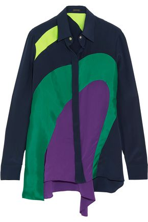 VERSACE Paneled silk shirt