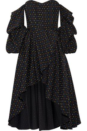 CAROLINE CONSTAS Jia-Jia off-the-shoulder wrap-effect Swiss-dot cotton mini dress