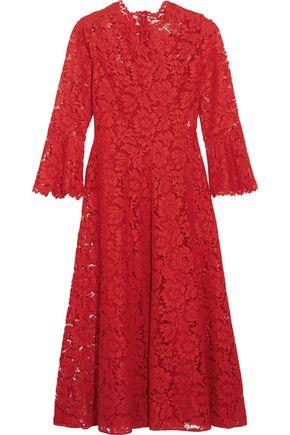VALENTINO Corded cotton-blend guipure lace midi dress