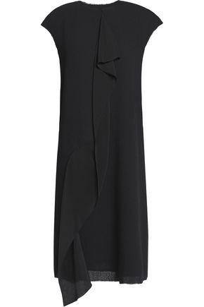 AGNONA Draped silk georgette-trimmed wool-crepe dress