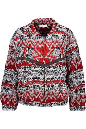 IRO Goldy fringed intarsia-knit jacket