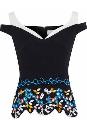 PETER PILOTTO Cold-shoulder embroidered cady top