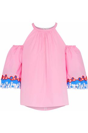 PETER PILOTTO Cold-shouler broderie anglaise-trimmed cotton-poplin top