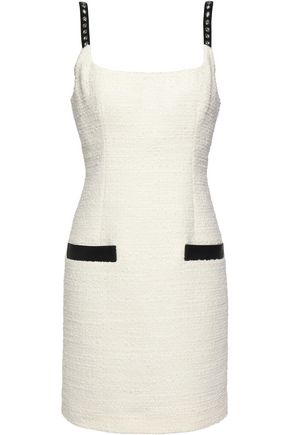 ALEXANDER WANG Embellished leather-trimmed bouclé mini dress