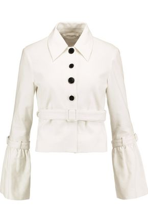 ROBERT RODRIGUEZ Cropped belted cotton-crepe jacket