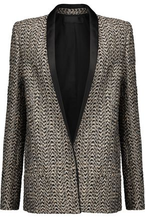 HAIDER ACKERMANN Satin-trimmed sequin-embellished metallic tweed blazer