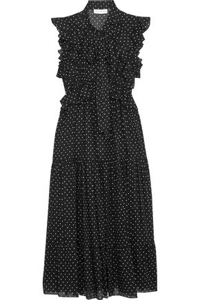 ROBERT RODRIGUEZ Pussy-bow ruffled polka-dot cotton-georgette dress
