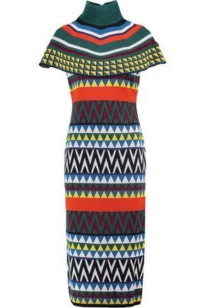 STELLA JEAN Tricot cape-effect stretch-knit midi turtleneck dress