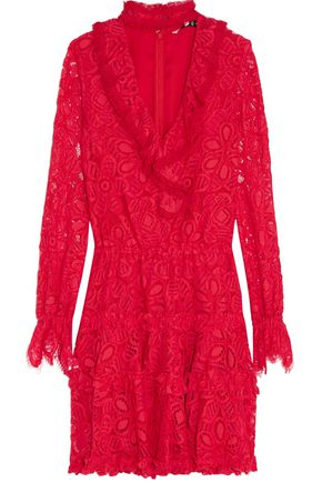 ALEXIS Catalina cutout ruffled corded lace mini dress