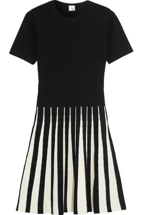 IRIS & INK Alice pleated two-tone ribbed-knit dress