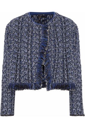MAJE Fringed metallic bouclé-knit jacket