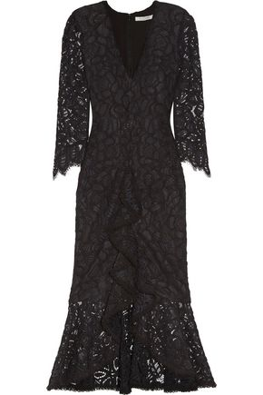 ALEXIS Nadege crochet-trimmed ruffled corded lace midi dress