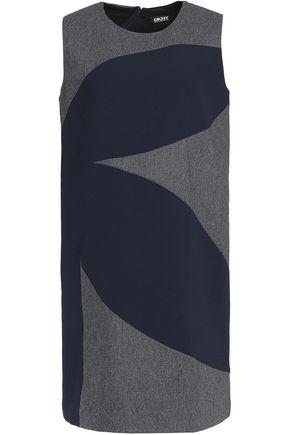 DKNY Wool-blend felt and crepe mini dress