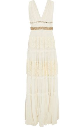 LANVIN Crystal-embellished Swiss-dot tulle gown