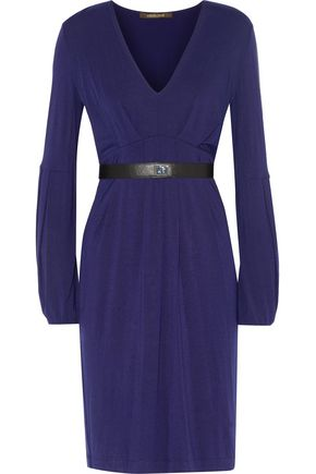 ROBERTO CAVALLI Belted modal-blend dress