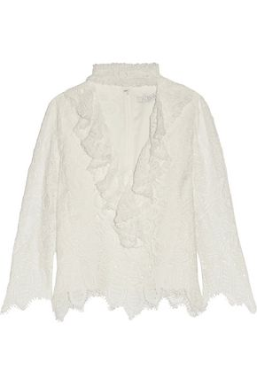 ALEXIS Waverly cutout ruffled corded lace top